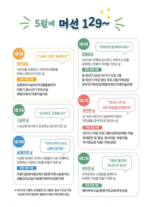 [종로구] 5월 가정의달 캠페인 '오월의 우리' 가정의 달 기념일 정보